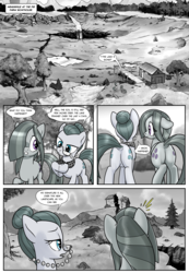 Size: 1331x1920 | Tagged: safe, artist:pencils, cloudy quartz, marble pie, earth pony, pony, comic:anon's pie adventure, butt, comic, dialogue, dock, duo, duo female, female, flank, glasses, marblebutt, mare, monochrome, plot