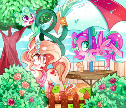 Size: 1024x878   Tagged: safe, artist:ipun, oc, oc only, oc:precious metal, earth pony, pegasus, pony, blushing, female, fence, flower, flower in hair, heart, heart eyes, hose, mare, neckerchief, open mouth, tree, umbrella, wingding eyes