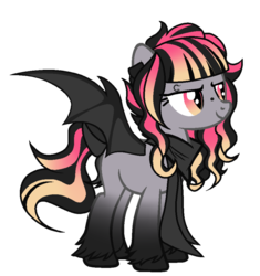 Size: 867x921 | Tagged: safe, alternate version, artist:lr-studios, artist:monster-drool, artist:rakuraikaze-chan, oc, oc only, oc:boo, bat pony, pony, alternate hairstyle, base used, clothes, eyebrow piercing, piercing, scarf, solo
