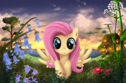 Size: 2123x1393   Tagged: safe, artist:atlas-66, fluttershy, cloud, female, flower, fluttershy's cottage, looking at you, shooting star, solo, spread wings, twilight (astronomy)
