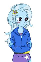 Size: 473x711 | Tagged: safe, artist:merryyy87, artist:rirepink, color edit, edit, trixie, equestria girls, anime, blushing, clothes, colored, cutie mark, female, humanized, jacket, simple background, sketch, skirt, solo, stars, white background