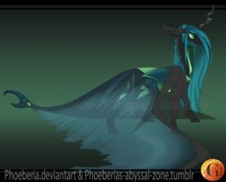 Size: 1024x828   Tagged: safe, artist:phoeberia, queen chrysalis, changeling, changeling queen, alternate design, alternate universe, female, solo