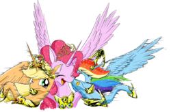 Size: 2355x1546 | Tagged: safe, artist:phoenixperegrine, applejack, pinkie pie, rainbow dash, alicorn, pony, alicornified, applecorn, blushing, hug, pinkiecorn, race swap, rainbowcorn, simple background, spread wings, tongue out, xk-class end-of-the-world scenario