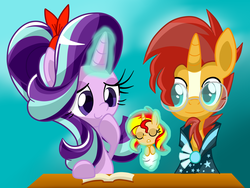 Size: 1600x1200   Tagged: safe, artist:lovehtf421, starlight glimmer, sunburst, sunset shimmer, pony, unicorn, baby, baby pony, babyset shimmer, blaze (coat marking), book, clothes, coat markings, cute, engrish at source, facial markings, fanon, female, filly, foal, glasses, glimmerbetes, hairband, headcanon, implied time travel, magic, male, mare, offspring, parent:starlight glimmer, parent:sunburst, parents:starburst, robe, shipping, stallion, starburst, straight, sunbetes, sunburst's cloak, sunburst's glasses, sunset shimmer is starlight glimmer's daughter, telekinesis, this will end in tears, time paradox