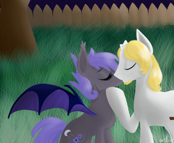 Size: 1100x900 | Tagged: safe, artist:tinyfeather, oc, oc only, bat pony, pony, broken horn, female, kissing, male, night guard, oc x oc, royal guard, shipping, straight