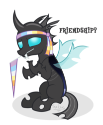 Size: 1077x1300 | Tagged: safe, artist:tina-de-love, thorax, changeling, the times they are a changeling, flag, headband, hilarious in hindsight, male, mouth hold, simple background, smiling, solo, transparent background, vector