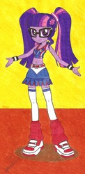 Size: 1024x2094 | Tagged: safe, artist:metaldudepl666, part of a set, sci-twi, twilight sparkle, equestria girls, alternate clothes, alternate hairstyle, belly button, blushing, cheerleader, cheerleader outfit, cheerleader sparkle, clothes, crossover, glasses, lollipop chainsaw, midriff, pigtails, sneakers, socks, thigh highs, traditional art, twintails