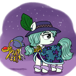 Size: 1400x1400 | Tagged: safe, artist:ficficponyfic, color edit, edit, oc, oc only, oc:emerald jewel, earth pony, pony, colt quest, adult, alternate costumes, alternate hairstyle, alternate timeline, alternate universe, amulet, aura, boots, cloak, clothes, color, colored, ending, feather, frown, future, hat, key, keychain, levitation, mage, magic, male, night, ponytail, possible spoilers, preview, serious, solo, stallion, stars, tail wrap, telekinesis, vest