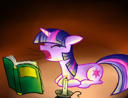 Size: 1300x1000 | Tagged: safe, artist:cyberfire22, twilight sparkle, book, candle, crying, female, sleepy, solo, tears of exhaust, tired, yawn