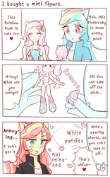 Size: 543x872 | Tagged: safe, artist:nemucure, fluttershy, rainbow dash, sunset shimmer, equestria girls, assisted exposure, bottomless, clothes, comic, dialogue, doll, embarrassed, embarrassed underwear exposure, english, equestria girls minis, female, heart, panties, pixiv, ponied up, skirt, skirt pull, tanktop, toy, translation, underwear, undressing, white underwear