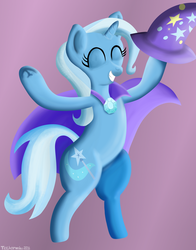 Size: 3203x4076 | Tagged: safe, artist:techarmsbu, trixie, pony, unicorn, cape, clothes, eyes closed, female, hat, mare, solo, standing, trixie's cape, trixie's hat