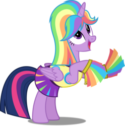 Size: 4958x5000 | Tagged: safe, artist:dashiesparkle, twilight sparkle, alicorn, pony, rainbow falls, .svg available, absurd resolution, cheering, cheerleader, cheerleader sparkle, clothes, cute, female, folded wings, full body, looking up, mare, open mouth, pom pom, ponyscape, rainbow wig, rearing, simple background, skirt, smiling, solo, transparent background, twilight sparkle (alicorn), vector