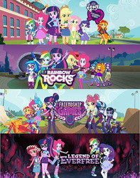 Size: 426x540 | Tagged: safe, adagio dazzle, applejack, aria blaze, fluttershy, gloriosa daisy, pinkie pie, rainbow dash, rarity, sci-twi, sonata dusk, sour sweet, sugarcoat, sunny flare, sunset shimmer, twilight sparkle, equestria girls, equestria girls (movie), friendship games, legend of everfree, official, rainbow rocks, banner, comparison, equestria girls logo, female, humane five, humane seven, humane six, mane six, the dazzlings, the rainbooms, twilight sparkle (alicorn)