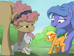 Size: 1280x973 | Tagged: safe, artist:rutkotka, oc, oc only, oc:brave wing, oc:forgetmenot, oc:hazel heart, oc:pliszka, pegasus, pony, colt, encouraging, female, filly, friends, happy, male, mother, park, pushing, shy