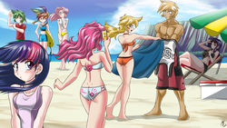 Size: 2600x1463 | Tagged: safe, artist:mauroz, applejack, big macintosh, fluttershy, pinkie pie, rainbow dash, rarity, spike, twilight sparkle, human, abs, anime, anime style, armpits, ass, barefoot, beach, belly button, bicolor swimsuit, bikini, black swimsuit, blonde hair, blue eyes, blue swimsuit, blushing, board shorts, breasts, cliff, clothes, cloud, crossed legs, embarrassed, feet, female, flexing, freckles, front knot midriff, green eyes, green hair, hand on hip, hand on mouth, human coloration, humanized, jersey, magazine, mane six, midriff, multicolored hair, ocean, one-piece swimsuit, open mouth, orange swimsuit, outdoors, phone, pink eyes, pink hair, pouting, purple hair, purple swimsuit, rainbow hair, rear view, sand, shade, shiny skin, shirt, shorts, sideboob, signature, sitting, smartphone, sports shorts, summer, sunbrella, sunglasses, surfboard, swim trunks, swimsuit, t-shirt, tankini, topless, turquoise eyes, umbrella, water, white swimsuit, yellow swimsuit