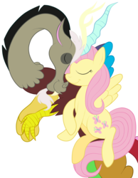 Size: 1736x2236 | Tagged: artist:squipycheetah, crossed hooves, cute, discord, discoshy, draconequus, eyes closed, female, floating, fluttershy, flying, happy, male, nuzzling, safe, shipping, simple background, smiling, spread wings, straight, transparent background, vector