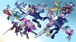 Size: 2880x1620 | Tagged: safe, artist:syforcewindlight, applejack, big macintosh, derpy hooves, fluttershy, pinkie pie, princess cadance, princess flurry heart, rainbow dash, rarity, shining armor, trixie, twilight sparkle, anthro, unguligrade anthro, armor, fire emblem, fire emblem: awakening, mane six, sword, too many ponies, weapon