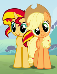 Size: 1704x2216 | Tagged: applejack, appleshimmer, artist:adcoon, artist:dashiesparkle, artist:sapphireartemis, artist:themexicanpunisher, cowboy hat, cute, female, hat, jackabetes, lesbian, looking at you, mare, open mouth, pony, request, safe, shimmerbetes, shipping, smiling, stetson, sunset shimmer, unicorn