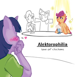 Size: 1052x1088 | Tagged: safe, artist:sehad, apple bloom, scootaloo, sweetie belle, twilight sparkle, anthro, pegasus, pony, big book of fetishes, blushing, female, fetish, filly, lesbian, milkshake, milkshake ponies, scootachicken, scootatwi, shipping, simple, simple background, sketch