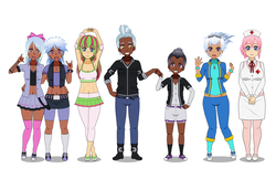 Size: 1950x1260 | Tagged: safe, artist:kathara_khan, blossomforth, cloudchaser, fleetfoot, flitter, nurse redheart, rumble, thunderlane, human, armpits, beauty mark, belly button, boots, bracelet, brofist, clothes, converse, dark skin, diversity, ear piercing, earring, freckles, goggles, group, hair bow, hug, humanized, jacket, jewelry, kisekae, midriff, nurse, pantyhose, piercing, pleated skirt, shoes, shorts, simple background, skirt, sneakers, socks, spiked wristband, thigh highs, white background