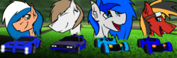Size: 4500x1500 | Tagged: artist:burninggryphon, car, glasses, oc, oc:achimari, oc:jack sunshine, oc only, oc:sapphire sights, oc:twotail, rocket league, safe
