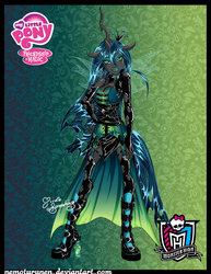 Size: 2151x2787 | Tagged: safe, artist:nemoturunen, queen chrysalis, human, female, horned humanization, humanized, monster high, solo, winged humanization