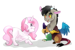Size: 1024x681 | Tagged: safe, artist:hikariviny, discord, princess celestia, alicorn, draconequus, pony, blank flank, blushing, butt, cewestia, colored hooves, cute, cutelestia, daaaaaaaaaaaw, discute, duo, duo male and female, female, filly, filly celestia, foal, looking at each other, male, open mouth, pink-mane celestia, plot, shadow, simple background, sitting, smiling, spread wings, spreading, standing, sunbutt, weapons-grade cute, white background, wings, young discord, younger