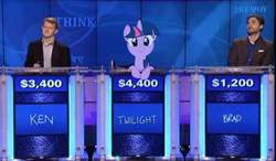 Size: 650x380 | Tagged: source needed, safe, edit, twilight sparkle, human, pony, unicorn, brad rutter, c:, cute, game show, irl, irl human, jeopardy, ken jennings, leaning, looking at you, photo, ponies in real life, smiling, television