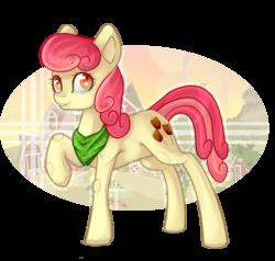 Size: 1500x1425   Tagged: safe, artist:mp-printer, artist:rappy-yum, apple bumpkin, earth pony, pony, apple family member, bandana, collaboration, female, mare, raised hoof, solo