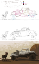 Size: 2000x3247 | Tagged: safe, artist:celestiawept, scootaloo, car, chevrolet, dark, female, hot rod, mad max, solo, supercharger