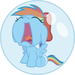 Size: 6345x6396 | Tagged: safe, artist:fineprint-mlp, rainbow dash, pegasus, pony, absurd resolution, alpha channel, baby, baby dash, baby mario, baby pony, bubble, cap, crossover, crying, cute, dashabetes, diaper, female, filly, foal, hat, mario hat, mario's hat, simple background, solo, spread wings, super mario bros., transparent background, vector, wings, yoshi's island, younger