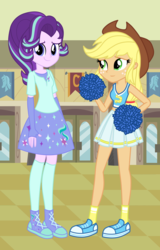 Size: 1800x2808 | Tagged: applejack, artist:mixiepie, artist:osipush, artist:themexicanpunisher, artist:theshadowstone, canterlot high, cheerleader, clothes, cowboy hat, cute, equestria girls, equestria girls-ified, fingerless gloves, glimmerbetes, glimmerjack, gloves, hat, midriff, pleated skirt, pom pom, safe, shoes, skirt, smiling, sneakers, socks, starlight glimmer, stetson