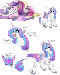 Size: 1600x2000 | Tagged: adult, age progression, artist:bluesidearts, chest fluff, classical unicorn, colored wings, colored wingtips, cute, cutie mark, ear fluff, eyeshadow, flurrybetes, foal, implied shining armor, leg fluff, leonine tail, lidded eyes, makeup, mother and daughter, neck fluff, offscreen character, open mouth, princess cadance, princess emo heart, princess flurry heart, safe, tail feathers, teenage flurry heart, teenager, unshorn fetlocks, watermark