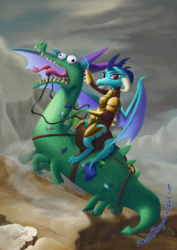 Size: 1414x2000   Tagged: safe, artist:deathpwny, crackle, princess ember, dragon, armor, derp, dragons riding dragons, fine art parody, majestic as fuck, napoleon bonaparte, napoleon crossing the alps, open mouth, pastiche, rearing, reins, saddle, smiling, spread wings, tack, tongue out