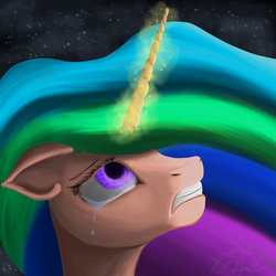 Size: 2000x2000 | Tagged: safe, artist:hyper dash, princess celestia, crying, glowing horn, solo