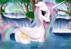 Size: 6200x4320 | Tagged: safe, artist:aurelleah, princess celestia, alicorn, pony, absurd file size, absurd resolution, art, bathing, beautiful, chest fluff, crepuscular rays, cute, cutelestia, ear fluff, female, flank, floppy ears, forest, happy, looking at you, looking back, mare, outdoors, plot, river, scenery, shy, smiling, solo, sunbutt, swimming, water, waterfall, wet mane
