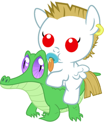 Size: 786x917 | Tagged: safe, artist:red4567, bulk biceps, gummy, roid rage, alligator, pegasus, pony, baby, baby pony, bulkabetes, colt, cute, duo, duo male, foal, gummybetes, male, pacifier, ponies riding gators, riding, small wings, weapons-grade cute, wings