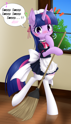 Size: 968x1684 | Tagged: safe, artist:hashioaryut, twilight sparkle, alicorn, pony, semi-anthro, adorkable, bipedal, blushing, broom, clothes, cute, daaaaaaaaaaaw, dork, female, heart, heart eyes, hnnng, looking at you, maid, maidlight sparkle, solo, stockings, sweat, sweeping, sweepsweepsweep, twiabetes, twilight sparkle (alicorn), twilight sweeple, window, wingding eyes
