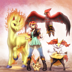 Size: 2975x2975 | Tagged: safe, artist:mykegreywolf, sunset shimmer, braixen, rapidash, talonflame, victini, equestria girls, clothes, crossover, fiery shimmer, fire, leather jacket, mane of fire, nintendo, one eye closed, open mouth, pokéball, pokémon, stick, team, wink