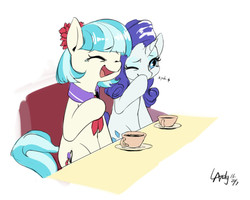 Size: 844x674 | Tagged: safe, artist:luciferamon, coco pommel, rarity, earth pony, pony, unicorn, cocobetes, crying, cup, cute, drink, eyes closed, female, food, laughing, laughingmares.jpg, mare, one eye closed, open mouth, raribetes, sitting, smiling, table, tea, teacup