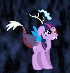 Size: 1059x1099   Tagged: safe, artist:blmn564, discord, twilight sparkle, draconequus, discolight, discord sparkle, draconequified, female, male, shipping, species swap, straight, twikonequus