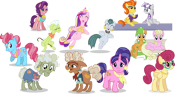 Size: 3447x1856 | Tagged: safe, artist:punzil504, apple leaves, cloudy quartz, cookie crumbles, cup cake, granny smith, ma hooffield, millie, posey shy, princess cadance, spoiled rich, stormy flare, twilight velvet, pony, apple family member, background pony, cajun ponies, hooffield family, mother, mother's day, simple background, transparent background, unnamed pony, vector