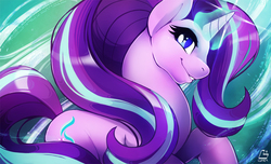 Size: 1500x909   Tagged: safe, artist:chocokangoo, starlight glimmer, pony, unicorn, female, glowing horn, magic, mare, smiling, solo