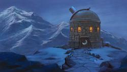 Size: 1244x700 | Tagged: dead source, safe, artist:maggwai, building, implied princess luna, mountain, night, no pony, observatory, scenery, scenery porn, snow