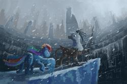 Size: 1746x1149 | Tagged: safe, artist:plainoasis, rainbow dash, griffon, backwards cutie mark, snow, snowfall, spear, weapon