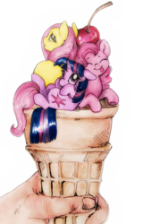Size: 631x978 | Tagged: safe, artist:buttersprinkle, fluttershy, pinkie pie, twilight sparkle, human, pony, :p, cherry, cup of pony, cute, eyes closed, floppy ears, food, hand, ice cream, ice cream cone, looking at you, looking back, micro, nose wrinkle, on back, pony pile, size difference, smiling, tiny ponies, tongue out, traditional art