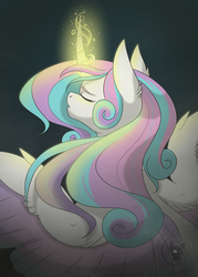 Size: 1000x1400 | Tagged: artist:bluesidearts, curved horn, eyes closed, glowing horn, magic, older, princess flurry heart, safe, simple background, solo, speedpaint