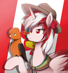 Size: 1762x1871 | Tagged: safe, artist:the-butch-x, oc, oc only, oc:princess peruvia, oc:tunki, flag, hat, peru, peruvian, raised hoof, red eyes, signature, solo