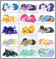 Size: 1100x1161 | Tagged: safe, artist:keyfeathers, applejack, derpy hooves, dj pon-3, doctor whooves, fluttershy, lyra heartstrings, octavia melody, pinkie pie, princess celestia, princess luna, queen chrysalis, rainbow dash, rarity, time turner, twilight sparkle, vinyl scratch, alicorn, chocobo, pony, crossover, cute, cutealis, cutelestia, dashabetes, derpabetes, diapinkes, doctorbetes, eyes closed, final fantasy, floppy ears, jackabetes, lunabetes, lyrabetes, one of these things is not like the others, prone, raribetes, shyabetes, sleeping, smiling, tavibetes, twiabetes, twilight sparkle (alicorn), vinylbetes, watermark