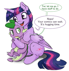 Size: 1165x1200 | Tagged: safe, artist:silfoe, spike, twilight sparkle, alicorn, pony, royal sketchbook, cute, dialogue, hape, hug, non-consensual cuddling, simple background, speech bubble, spikelove, twilight sparkle (alicorn), white background